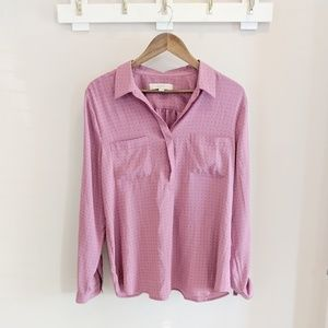 LOFT Dark Pink Polka Dot Blouse Size Large
